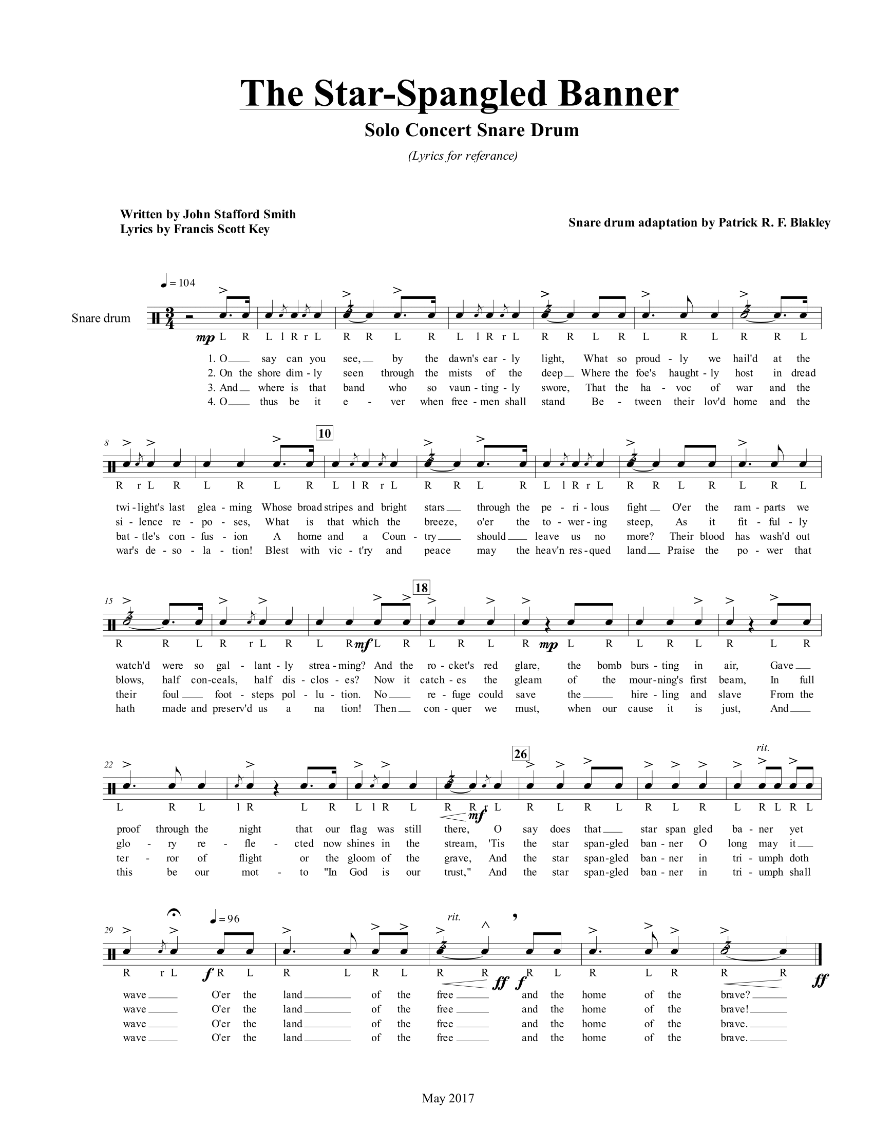 The Star-Spangled Banner Snare Drum Solo - PatrickRFBlakley.com |  PatrickRFBlakley.com